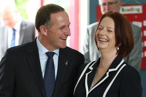 Prime Minister John Key and the Australian Prime Minister Julia Gillard. Photo / NZ Herald