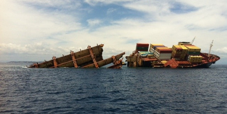 File photo taken of the Rena in March, 2012. Rena's battered skeleton makes a sorry sight after months of being hammered by the sea. 