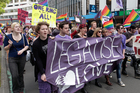 Legalise Love protesters, calling for gay marriage and adoption to be legallised, marching along Lambton Quay in Wellington. Photo / Mark Mitchell