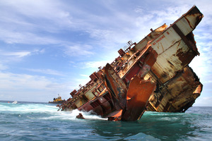 Tenders are being called for the removal of the Rena wreckage from the Astrolabe Reef. Photo / Maritime NZ