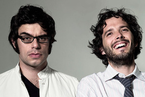The first show of Flight of the Conchords' blockbusting New Zealand tour is shrouded in secrecy. Photo / Supplied
