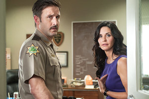 David Arquette and Courteney Cox in a scene from Scream 4.