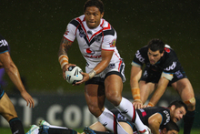 Manu Vatuvei of the Warriors runs the ball during the match against the Penrith Panthers. Photo / Getty Images