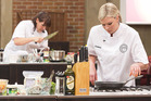 Ana Schwarz and Chelsea Winter perform in the finale of MasterChef New Zealand. Photo / Supplied