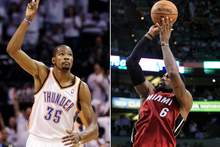 Kevin Durant and LeBron James are both looking to win maiden titles and begin their basketball legacies. Photo / AP 