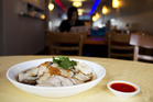 The Hainanese chicken was moist but the plain plating was unimaginative. Photo / Kellie Blizard