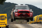 Daniel Sordo's WRC Mini gets seriously airborne at Hella Bridge. Photo / Getty Images