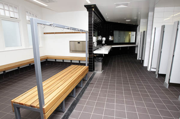 Pictured is the ladies changing room in Auckland's renovated iconic Tepid Baths. The swimming complex and Gymnasium  is set to re-open to the public on Saturday June 23 2012.  The Tepid baths have been closed since early 2010.