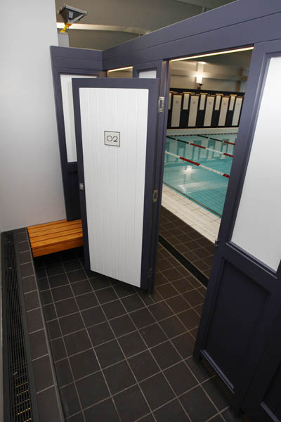 Pictured are the changing rooms in the main swimming pool area in Auckland's renovated iconic Tepid Baths.   The swimming complex and Gymnasium  is set to re-open to the public on Saturday June 23 2012.  The Tepid baths have been closed since early 2010.