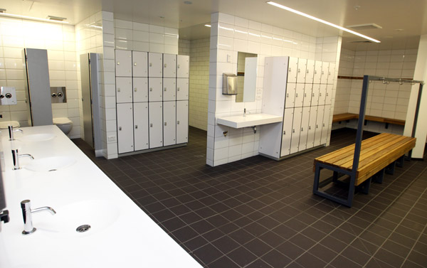 Pictured is the male changing room area in Auckland's renovated iconic Tepid Baths.   The renovated swimming complex and Gymnasium  is set to re-open to the public on Saturday June 23 2012.  The Tepid baths have been closed since early 2010.