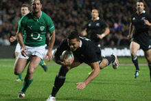 Sonny Bill Williams of the All Blacks scores a try during the International Test Match between New Zealand and Ireland. Photo / Getty Images.