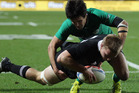 Sam Cane of the All Blacks dives over to score during the International Test Match between New Zealand and Ireland. Photo / Getty Images.