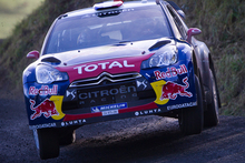Eight-time world champion Sebastien Loeb will take a 6.4-second lead over teammate Mikko Hirvonen into tomorrow's final day. Photo / AP. 