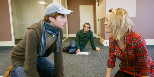 Robert Tripe, Phillip Gordon and Lucy McCammon rehearse for 'Some Explicit Polaroids'. Photo / Supplied