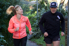 Rachel Grunwell mid-running lesson with coach, Russell Maylin. Photo / Kellie Blizard