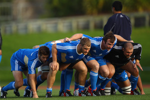 Owen Franks, Andrew Hore and Tony Woodcock pack down in training ahead of the third test. Picture / Getty Images.