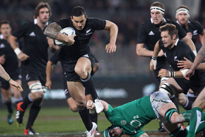 Sonny Bill Williams of the All Blacks tramples over Sean O'Brien of Ireland during the International Test Match between New Zealand and Ireland. Photo / Getty
