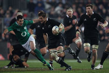 Richie McCaw making a break against Ireland. Photo / Greg Bowker.
