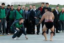 Hamilton prepares for biggest weekend of the year as Irish team and fans arrive Ireland's captain Brian O'Driscoll accepts the challenge at a powhiri in Hamilton yesterday. Picture / Christine Cornege.