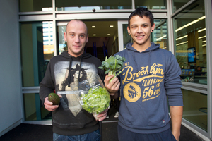 Michael McKeever and Marcel Brennan say the cost of vegetables is a disgrace. Photo / Kellie Blizard