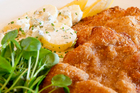 Veal schnitzel at Ella Cafe & Lounge. Photo / Greg Bowker