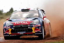 Sebastien Loeb leads the Rally of New Zealand after overtaking Citroen teammate Mikko Hirvonen. File photo / AP 
