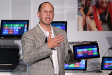 Microsoft Corporate Vice President Steve Guggenheimer delivers a speech to introduce the Windows 8 systems during Computex in Taipei, Taiwan, Wednesday, June 6, 2012. Computex, the world's second larg