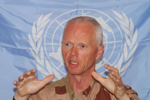 Major General Robert Mood, the head of the U.N. observer mission in Syria, speaks during a press conference, in Damascus, Syria. Photo / Bassem Tellawi