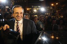 Leader of the Greek New Democracy conservative party Antonis Samaras. The New Zealand dollar may rise after the party won enough seats to form a majority government. Photo / AP