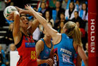 Magic shooter Irene van Dyk in action. Photo / Christine Cornege.