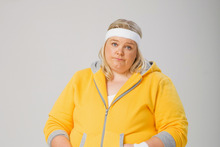 Cheap gags: Most of Golden's humour comes from poking fun at the size of Shelley Bowman (Lucy Schmidt). Photo / Supplied