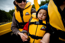Jet boating around Lake Manapouri left tot Caleb Purcell super-relaxed. Photo / Dean Purcell