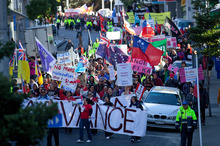 TheAdvance Pasifika march protested against Government decisions which impacted on Pacific people. Picture / APN