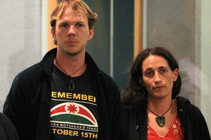 Urs Signer and Emily Bailey in the High Court in Auckland during the trial of the Urewera Four. Photo / NZ Herald
