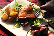 Boiled baby beets and crispy lettuce are a perfect match for duck confit. Photo / Doug Sherring