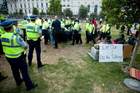 Security staff and police removed Occupy Auckland from Aotea Square in January. Photo / Dean Purcell