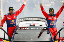 There's a rich history of rallying in New Zealand. Rally winners Citroen Total World Rally Team's Sebastien Loeb (right) and co-driver Daniel Elena at the presentation ceremony in 2008. Photo / File