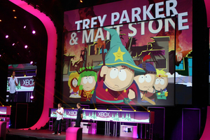 'South Park' creators Trey Parker (L) and Matt Stone reveal 'The Stick of Truth' during the Xbox E3 press conference in Los Angeles. Photo / Troy Rawhiti-Forbes