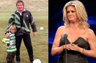 Liam Stewart made mum Rachel Hunter proud with tweet and pic for his dad Rod Stewart. Photos / Twitter, Richard Robinson