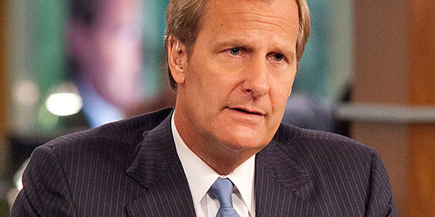 Jeff Daniels stars as a newsreader in Aaron Sorkin's new HBO show The Newsroom. Photo / Supplied