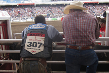 JB Mauney waits to compete in the ring at Calgary Stampede. Photo / Rob McFarland