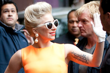 Lady Gaga arrives at the Stamford Plaza hotel in central Auckland ahead of her Auckland concerts. Photo / Richard Robinson