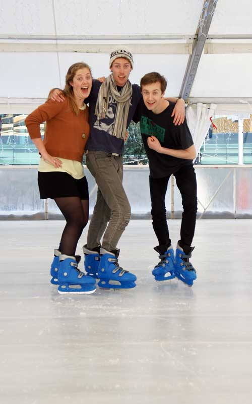 Ice Rink in Aotea Square is open for business. (L-R)Rosie Batt, 23, from Wellington, and her brother Tim Batt, 24, from Auckland check it out with Leon Wadham, 23, from Auckland.