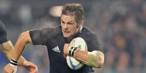 Richie McCaw continued his high workrate for the All Blacks but his handling let him down, with four knock-ons in the second half. Photo / Getty Images
