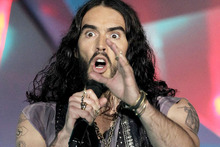 Russell Brand isn't happy with Graham Norton's line of questioning. Photo / AP