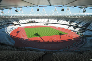 Olympic Stadium in London, with track and turf down. Photo / LOCOG