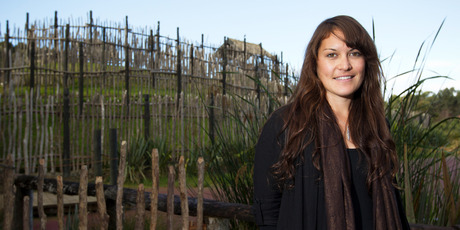 Natalie Sutton stands at the Te Ao Marama Village in Te Haha. Photo / Greg Bowker
