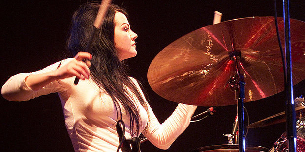 Meg White performs with The White Stripes at The St James in Auckland in 2003. Photo / Richard Robinson