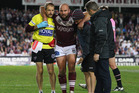 Stewart partially tore the medial ligament during the Sea Eagles' clash with Melbourne two weeks ago. Photo / Getty Images.