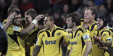 Conrad Smith of the Hurricanes celebrates with his team mates after the round 16 Super Rugby match between the Crusaders and the Hurricane. Photo / Getty Images.